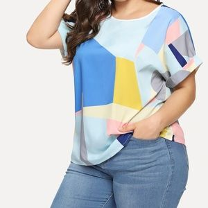 SHEIN Patchwork Roll Up Sleeve Blouse
